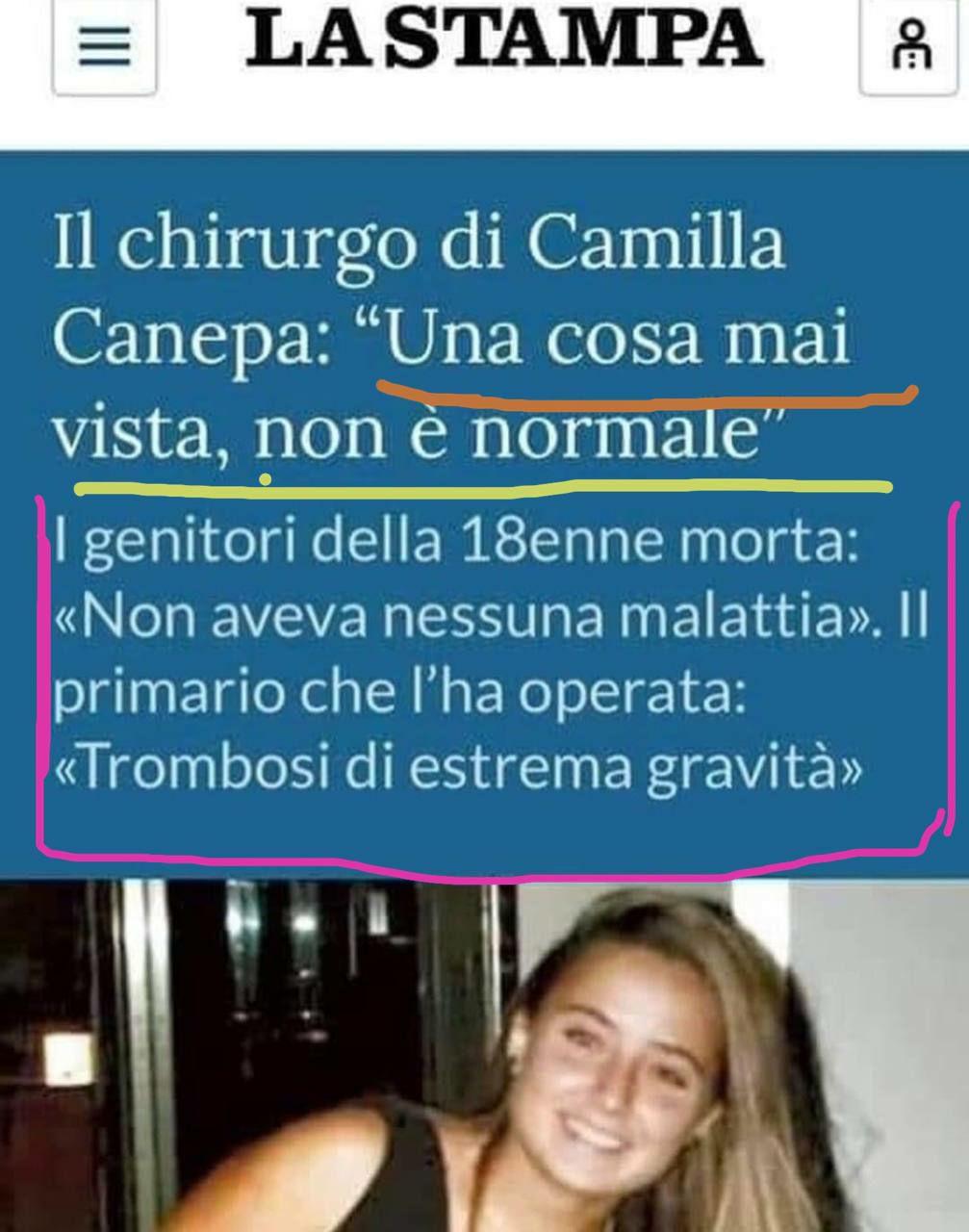 Camilla morta dopo il vaccino